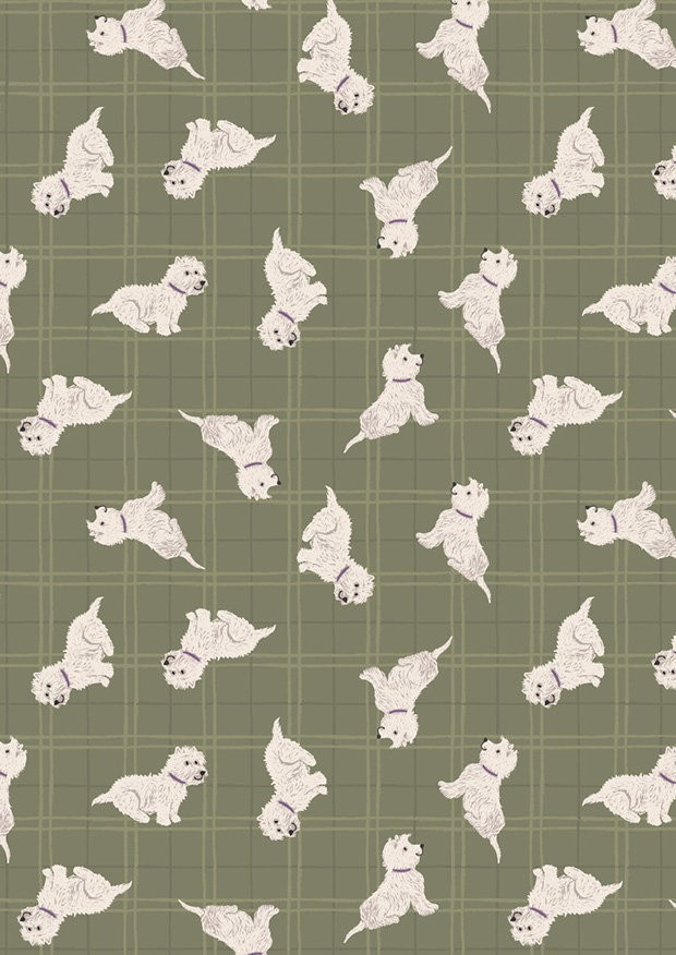 Lewis & Irene - A Walk In The Glen A159.3 Tumbled westies on olive check