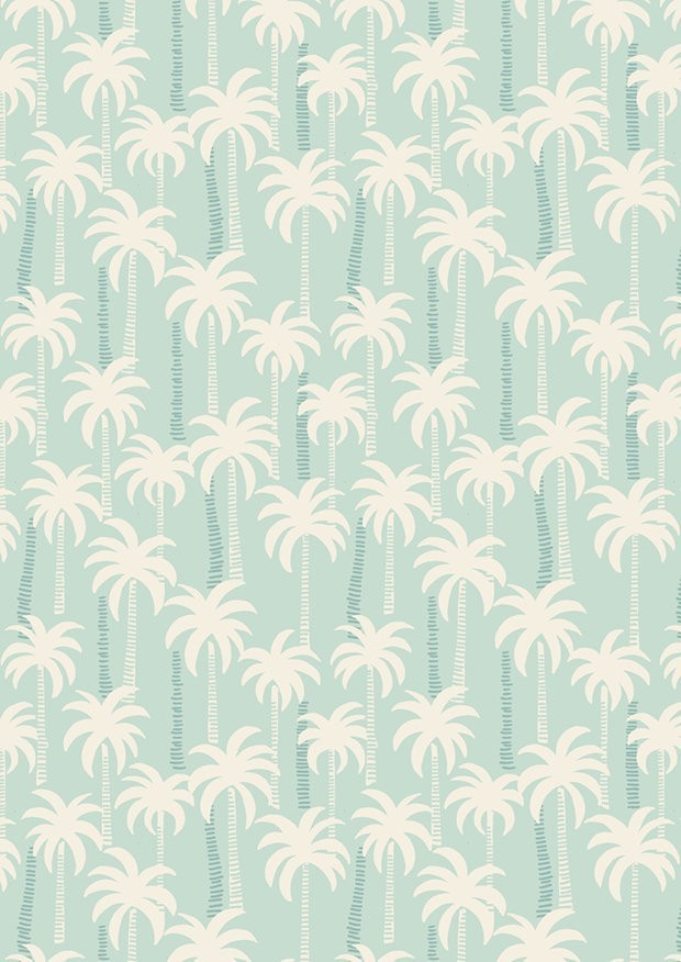 Lewis & Irene - Tropicana A132.1 Palm trees on blue
