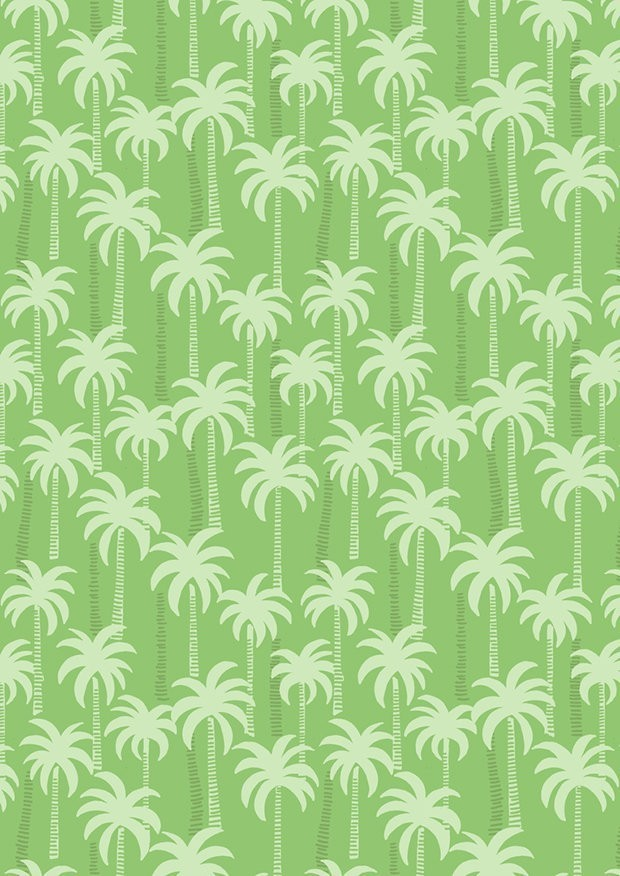 Lewis & Irene - Tropicana A132.3 Palm trees on green