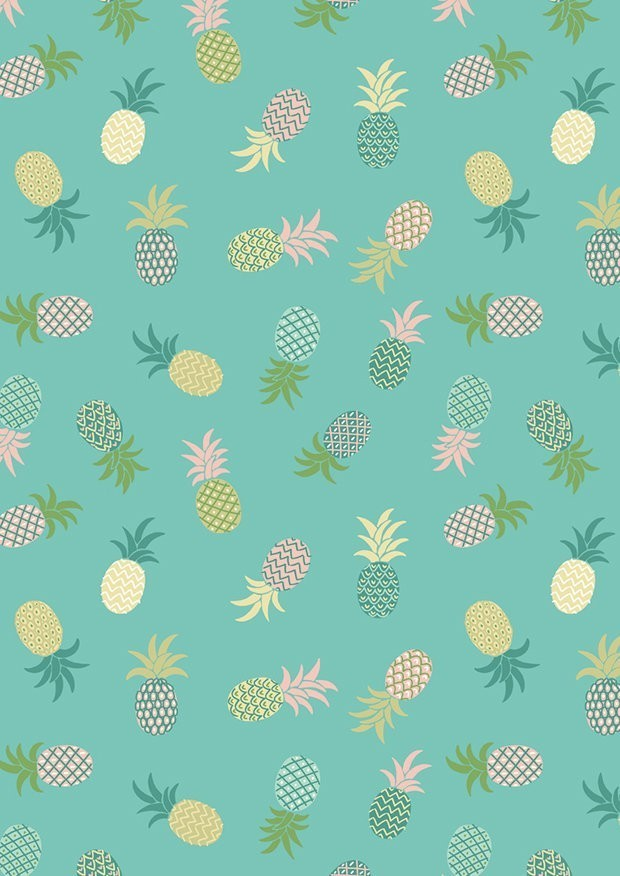 Lewis & Irene - Tropicana A134.2 Pineapples on turquoise