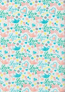 Craft Cotton Spring Is In The Air - Love Bird White