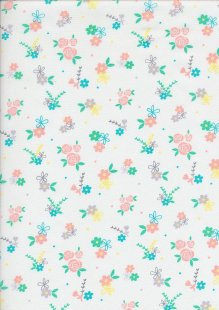 Craft Cotton Spring Is In The Air - Floral Sprig White