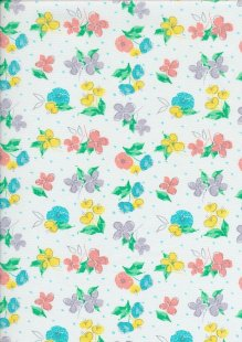 Craft Cotton Spring Is In The Air - Painted Floral White