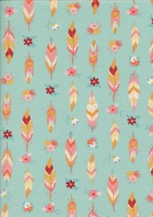 Craft Cotton Co - Feathers Turquoise