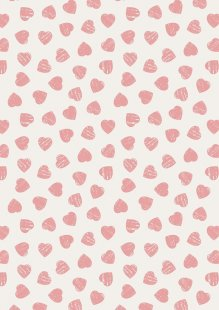 Lewis & Irene - Dove House A168.1 - Pink hearts on light cream