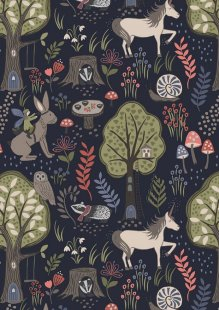 Lewis & Irene - Enchanted Forest A185.3 - Enchanted Forest On Midnight Blue