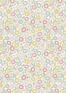 Lewis & Irene - Flo's Little Florals FLO2.1 - All Around Daisy On White