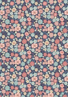 Lewis & Irene - Flo's Little Florals FLO4.4 - Blooms On Navy