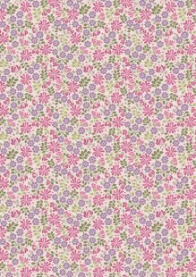 Lewis & Irene - Flo's Little Florals FLO7.3 - Floral Leaves On Pink