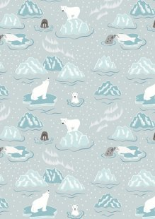 Lewis & Irene - Northern Lights C3.2 Walrus & friends on icy grey (Metallic)