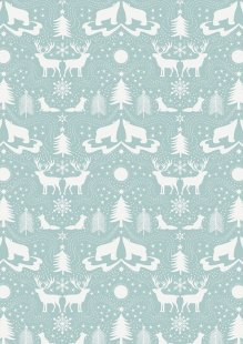 Lewis & Irene - Northern Lights C5.3 Arctic animals on icy blue (Metallic)