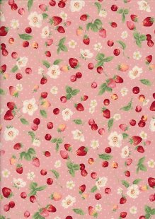 Sevenberry Novelty Fabric - Strawberries, Apples & Spots On Pink