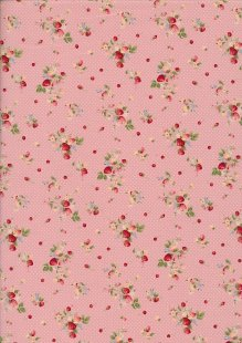 Sevenberry Novelty Fabric - Ditsy Strawberries, Apples & Spots On Pink