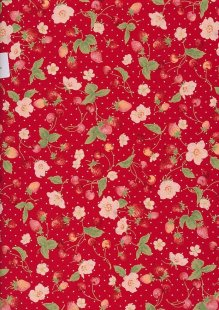 Sevenberry Novelty Fabric - Strawberries, Apples & Spots On Red