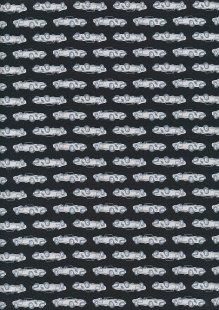 Sevenberry Novelty Fabric - Grey Vintage Sports Cars On Black