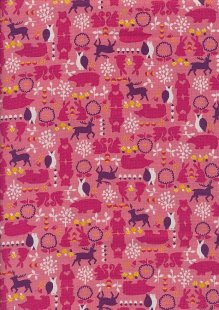 Sevenberry Novelty Fabric - Bears, Bunnies, Owls & Reindeer On Pink