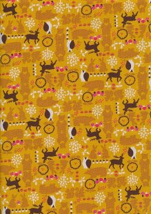 Sevenberry Novelty Fabric - Bears, Bunnies, Owls & Reindeer On Gold