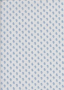 Sevenberry Japanese Ditsy Heirloom - Blue Paisley On White