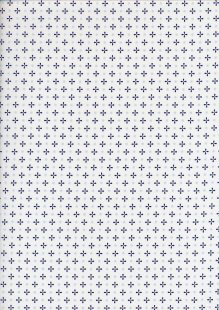 Sevenberry Japanese Ditsy Heirloom - Navy Blue Crosses & Dots On White