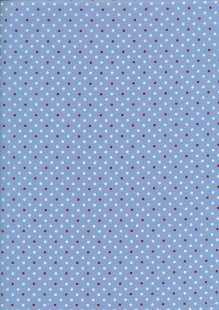 Sevenberry Japanese Ditsy Heirloom - White & Red Spots On Powder On Blue