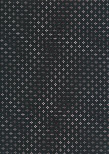 Sevenberry Japanese Ditsy Heirloom - Grey Crosses & Dots On Black