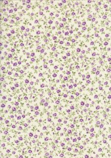 Sevenberry Japanese Ditsy Floral - Rose Trellis Purple