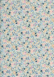 Sevenberry Japanese Ditsy Floral - Scattered Seeds Blue
