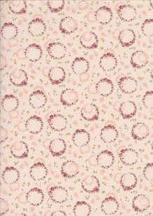 Sevenberry Japanese Ditsy Floral - Rose Wreath Pink
