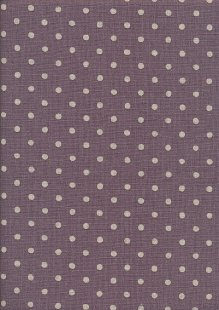 Sevenberry Japanese Linen Look Cotton - Plain Cream Spot On Puce