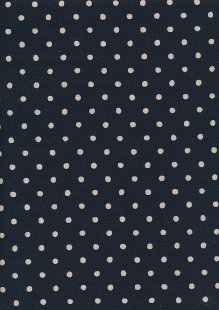 Sevenberry Japanese Linen Look Cotton - Plain Cream Spot On Navy Blue