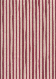 Sevenberry Japanese Linen Look Cotton - Plain Dark Pink Stripe On Cream
