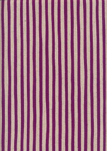 Sevenberry Japanese Linen Look Cotton - Plain Purple Stripe On Cream