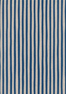 Sevenberry Japanese Linen Look Cotton - Plain Royal Blue Stripe On Cream