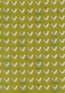 Sevenberry Japanese Linen Look Cotton - Plain Birds On Green