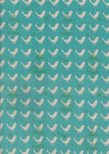 Sevenberry Japanese Linen Look Cotton - Plain Birds On Turquoise