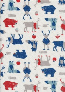Sevenberry Japanese Linen Look Cotton - Plain Bears, Reindeer & Wolves On Cream