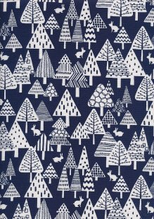 Sevenberry Japanese Linen Look Cotton - Plain Trees On Blue