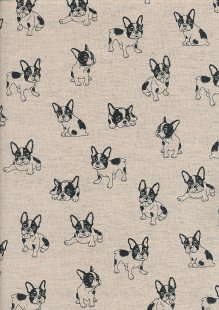Sevenberry Japanese Linen Look Cotton - Plain Dogs On Cream