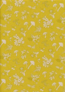 Sevenberry Japanese Linen Look Cotton - Plain Mushrooms On Yellow