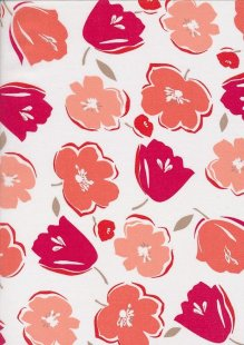 Cotton Lawn -Large Floral Ivory