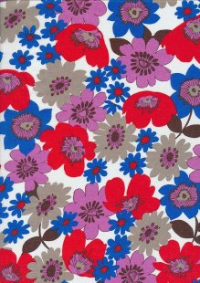 Cotton Lawn -Blue & Red Floral White